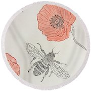 The Bee And Red Poppies  Round Beach Towel