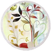 The Bee And The Ladybug Round Beach Towel