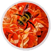 The Bee And The Flower Round Beach Towel