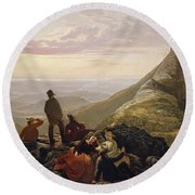The Belated Party On Mansfield Mountain Round Beach Towel