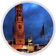 The Belfort Tower, Belfry, Bruges City, West Flanders Round Beach Towel