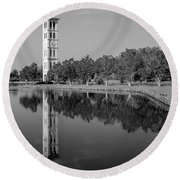The Bell Tower Reflections B W Furman University Greenville South Carolina Art Round Beach Towel