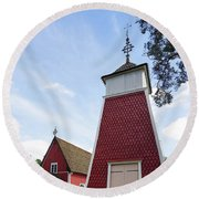 The Bellfry And The Church Of Kustavi Round Beach Towel