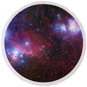 The Belt Stars Of Orion Round Beach Towel