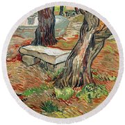 The Bench At Saint Remy Round Beach Towel