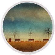 The Benches By The Moon Round Beach Towel