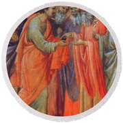 The Betrayal Of Judas Fragment 1311 Round Beach Towel