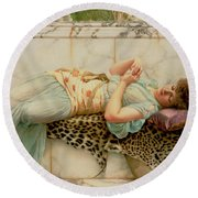 The Betrothed Round Beach Towel by John William Godward