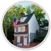 The Betsy Ross House Philadelphia Round Beach Towel by Bill Cannon