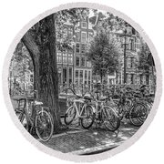 The Bicycles Of Amsterdam In Black And White Round Beach Towel