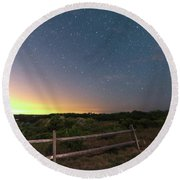 The Big Dipper Over The Lights Of Provincetown Ma Round Beach Towel