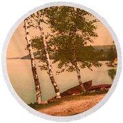 The Birches At Oak Birch Inn, Alton Bay, Lake Winnipesaukee, N. H.  Round Beach Towel