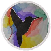The Bird And Colors  Round Beach Towel