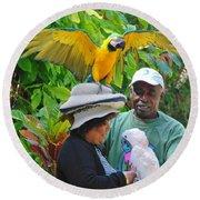 The Bird Lady At Ardastra Gardens Round Beach Towel