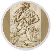 The Birth Of Bacchus From Jupiter's Thigh Round Beach Towel