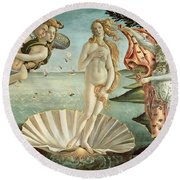 The Birth Of Venus Round Beach Towel by Sandro Botticelli