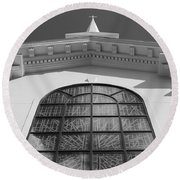 The Black And White Church Round Beach Towel