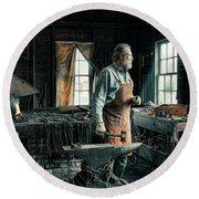 The Blacksmith - Smith Round Beach Towel by Gary Heller