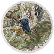 The Blind Leading The Blind Round Beach Towel by Tissot