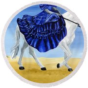 The Blue And The White - Princess Starliyah Riding Candis Round Beach Towel