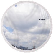The Blue Angels Flying Over Uss Constitution Round Beach Towel