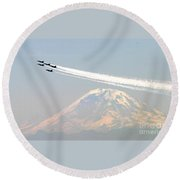 The Blue Angels Over Mount Rainier Seattle Round Beach Towel