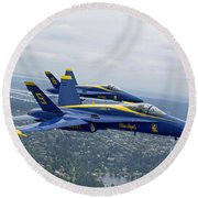 The Blue Angels Over Seattle Round Beach Towel