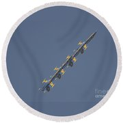 the Blue Angels performs the Left Echelon Roll Round Beach Towel