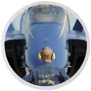 the Blue Angels waits for a signal from his pilot  Round Beach Towel
