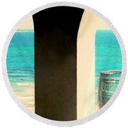 The Blue Barrel  Round Beach Towel
