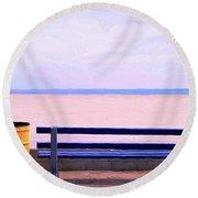 The Blue Bench Round Beach Towel