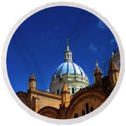 The Blue Domes Of Cuenca, Ecuador Round Beach Towel