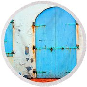 The Blue Door Shutters Round Beach Towel