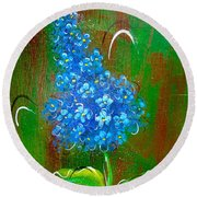 The Blue Flower Round Beach Towel