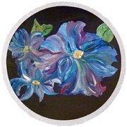 The Blue Flowers Round Beach Towel