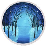 The Blue Forest Round Beach Towel
