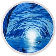 The Blue Grotto In Capri By Mcbride Angus  Round Beach Towel