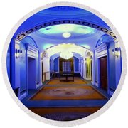 The Blue Hallway Round Beach Towel