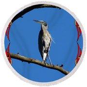 The Blue Heron Claimed He Was Framed Round Beach Towel