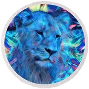 The Blue Lioness Round Beach Towel