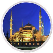 The Blue Mosque At Night Istanbul Turkey Round Beach Towel