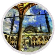 The Blue Mosque Istanbul Art Round Beach Towel