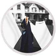 The Blue Of War At The Cottage Round Beach Towel