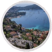 The Blue Waters Of Nice, France Round Beach Towel