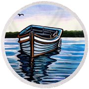 The Blue Wooden Boat Round Beach Towel