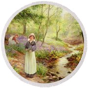 The Bluebell Glade Round Beach Towel by Ernest Walbourn