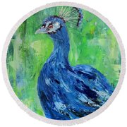 The Blues,peacock  Round Beach Towel