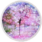 The Blushing Tree In Bloom Round Beach Towel