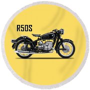 The R50s Motorcycle Round Beach Towel