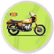The R90s Motorcycle 1974 Round Beach Towel
